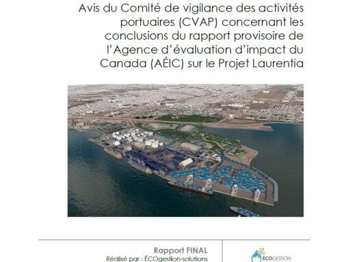 Mémoire pour le comité de vigilance du Port de Québec dans le cadre de l'étude d'impact relative au projet Laurentia (2020)